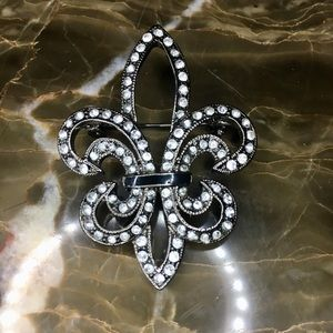 Fleur De Lis Fashion Black & Rhinestone Brooch
